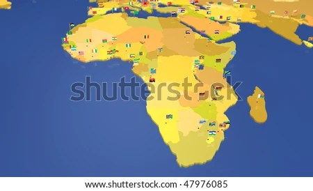 Map African Continent Each Capital City Stock Illustration 47976085     Map of African continent  Each capital city has the national flag waving in  the wind