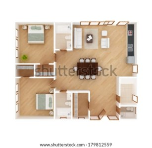 3 D Floor Plan Top View House Stock Illustration 179812559     3D floor plan top view of a house isolated on white background  2 Bedroom