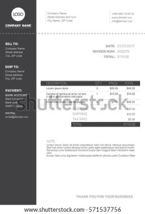 Vector Minimalist Invoice Template Design Your Stock Vector     Vector minimalist invoice template design for your business   company    black and white version