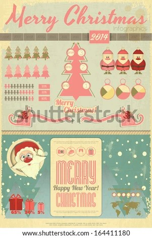 Vintage Christmas New Year Infographic Santa Stock Vector 164411180     Vintage Christmas and New Year Infographic with Santa Claus and Sleigh in  Retro Style  Vector