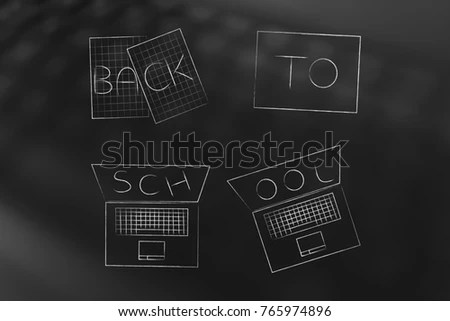 Education Studies Conceptual Illustration Back School Stock     education and studies conceptual illustration  Back to school caption  written on homework sheets and laptop