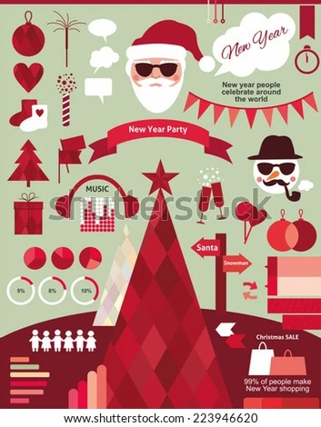 New Year Infographic Christmas Hipster Style Stock Vector  Royalty     new year infographic  christmas in hipster style  xmas icon