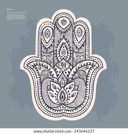 Vector Indian hand drawn hamsa symbol - stock vector