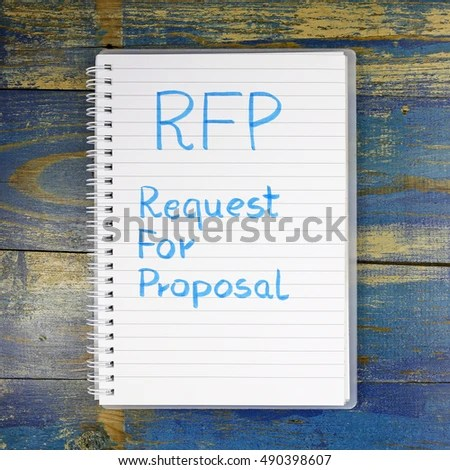 RFP Request Proposal Written Notebook Stock Photo  Royalty Free     RFP  Request For Proposal written in notebook