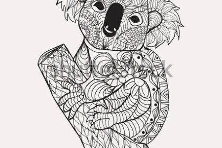 The Best Koala Coloring Pages Images On Pinterest Kindergarten Zentangle Style Black White Hand Stock Vector
