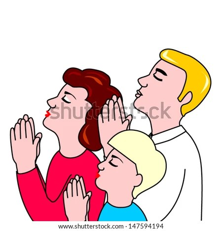 Family Prayer Stock Vector 147594194 - Shutterstock