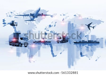 Global Logistics Network Web Site Concept Stock Photo  Royalty Free     Global logistics network Web site concept  Air cargo trucking rail  transportation maritime shipping On