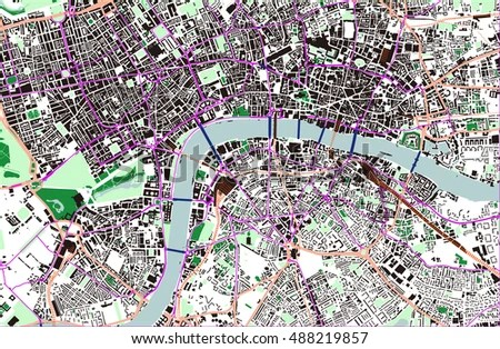 Vector Color Map London City London Stock Vector 488219857     Vector color map of London  City of London  Buckingham Palace  All objects  are
