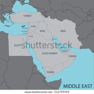 Middle East Map Stock Vector 516799594   Shutterstock