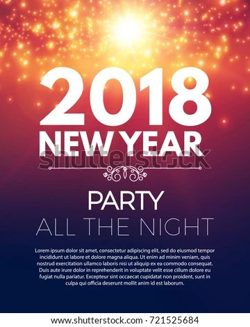 Happy New 2018 Year Party Poster Stock Vector  Royalty Free     Happy New 2018 Year Party Poster Template with Bokeh Light Effects and  Place for Text