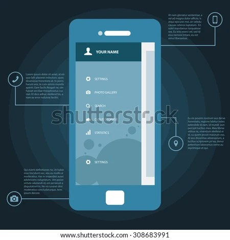 Mobile Wireframe App UI Kit Screen Stock Vector 308683991   Shutterstock Mobile Wireframe App UI Kit Screen  Sidebar menu screen  which can be used  in