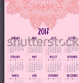 HD Decor Images » 2017 Calendar Template Mandala Vector Greeting Stock Vector     2017 calendar template  Mandala vector greeting or business card design   Highly detailed ottoman