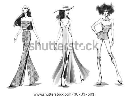 Fashion Sketches Stock Illustration 307037501   Shutterstock Fashion Sketches