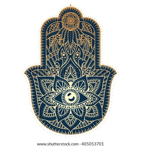 Hamsa Hand Hand Fatima Amulet Symbol Stock Vector ...