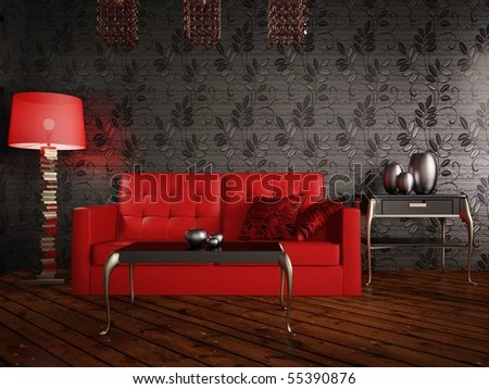 Black Room Red Sofa Nightlight Stock Illustration 55390876     black room with red sofa and night light
