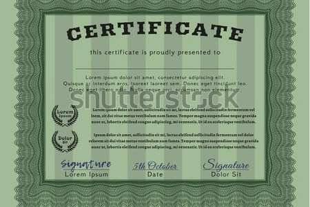 Green Classic Certificate Template Guilloche Pattern Stock Vector     Green Classic Certificate template  With guilloche pattern and background   Money Pattern design  Detailed