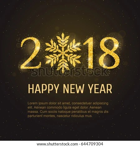 Vector 2018 Happy New Year Merry Stock Vector 644709304   Shutterstock Vector 2018 Happy New Year and Merry Christmas greeting card template with  sparkling glitter golden textured