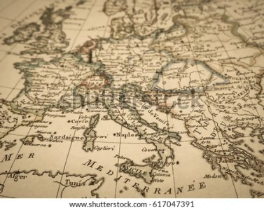 Antique World Map Europe Stock Photo  Royalty Free  617047391     Antique world map Europe