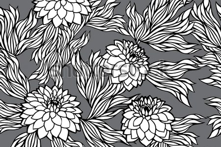 Backdrop Traditional Russian Ornament Seamless Vintage Floral Black White Pattern Stock Vector Royalty And