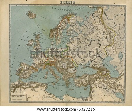 Old Map Europe 1867 Stock Photo  Royalty Free  5329216   Shutterstock Old Map of Europe 1867