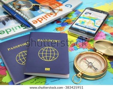 Travel Guide Concept Passport Compass Guide Stock Illustration     Passport  compass  guide books  mobile phone on the world