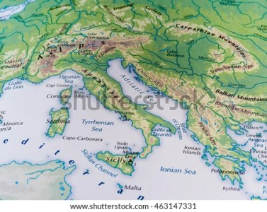 ROME ITALY CIRCA MAY 2016 Map Stock Photo  Royalty Free  463147331     ROME  ITALY   CIRCA MAY 2016  Map of Italy with selective focus on the