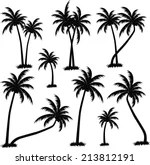 Vector Images Illustrations And Cliparts Tropical Palm Trees Black Silhouettes And Outline