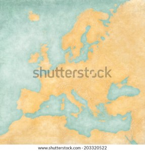 Blank Map Europe Map Vintage Summer Stock Illustration 203320522     Blank map of Europe  The Map is in vintage summer style and sunny mood
