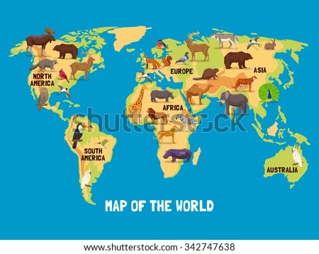 Flat Map World Animals Living Different Stock Vector  Royalty Free     Flat map of world with animals living in different parts of continents  vector illustration