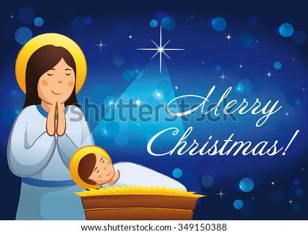 Merry Christmas Happy New Year Religious Stock Vector 349150388     Merry Christmas  A Happy New Year religious greetings  Celebrating  congratulating decorative traditional blue card