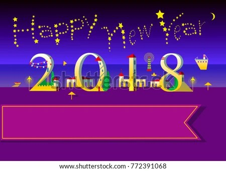 Happy New Year 2018 Text By Stock Vector 772391068   Shutterstock Happy New Year 2018  Text by stars in the sky  Number by artistic font
