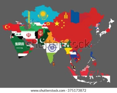 Detailed Map Asia All Countries Flags Stock Vector  Royalty Free     Detailed map of Asia with all the countries flags inside their borders Asian  countries