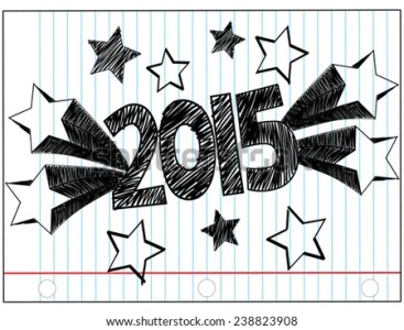2015 Written Hand Drawn Block Letters Stock Vector 238823908     2015 Written in Hand Drawn Block Letters with Shooting Stars on a Piece of  Lined Notebook