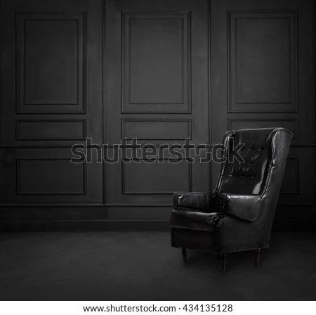 Black Room Interior Design Armchair Stock Photo  Royalty Free     Black room interior design with armchair