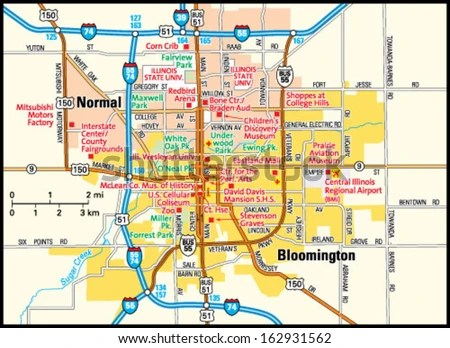 Bloomington Illinois Cost Of Living Bloomington Il On Us Map Bloomington Il  Map Uptowncritters Bloomington Illinois Street Map Bloomington IL Street  Map ...