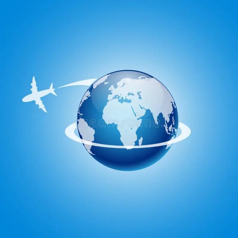 Airplane Flying Around The Globe Vector Illustration