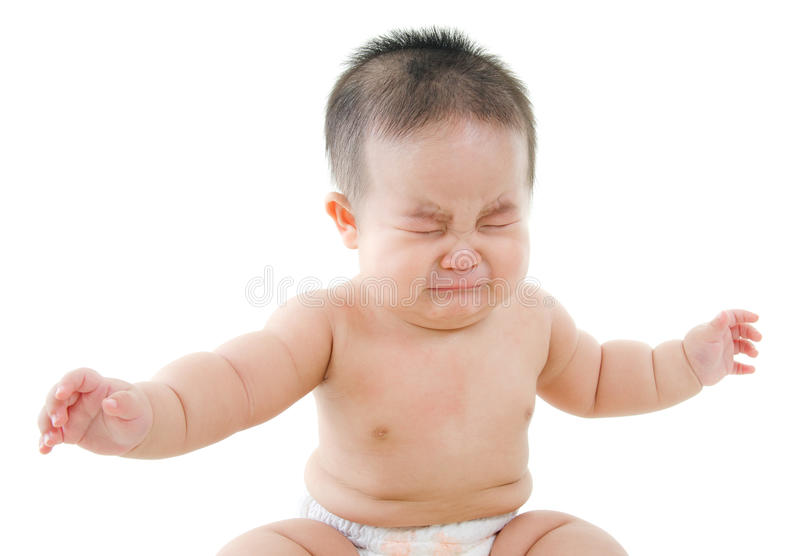 Asian baby boy is crying stock image. Image of angry ...