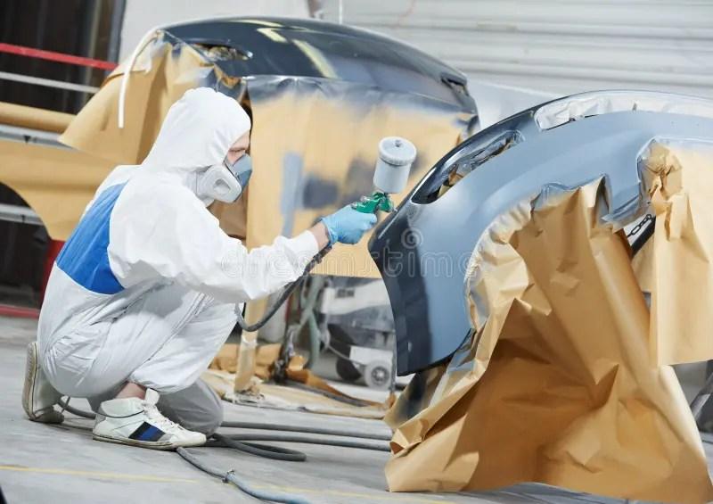 Auto Mechanic Painting Car Bumper Stock Photo Image Of