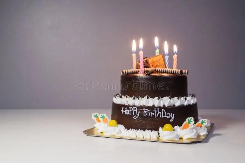 Happy Birthday Chocolate Cake On White Stock Photo Image