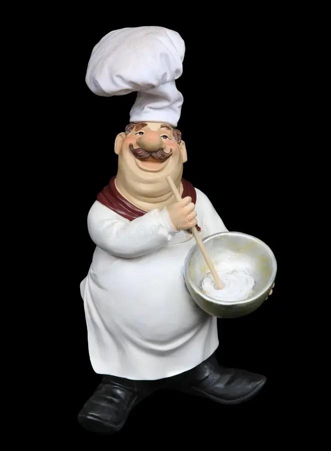 Fat Italian Chef Over Black Stock Image Image Of