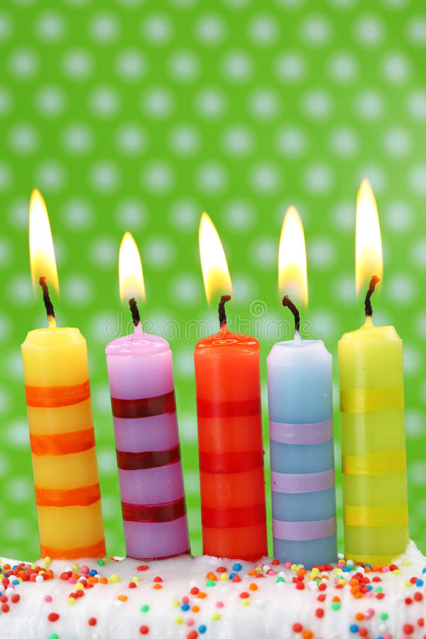 Five Birthday Candles Stock Photo Image Of Burning Happy