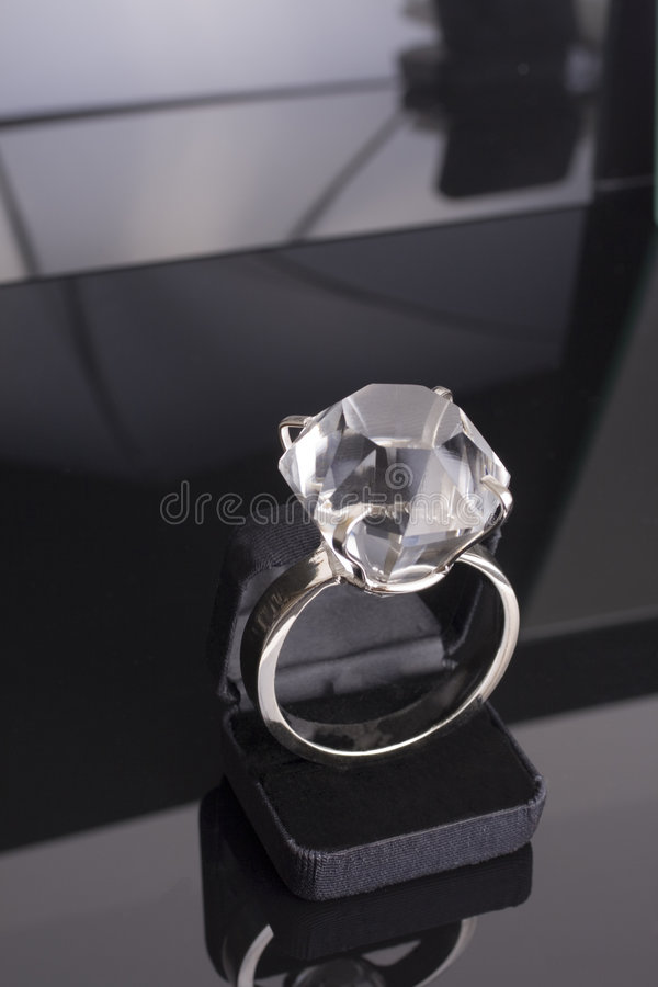Giant Engagement Ring Too Big For Ring Case Black Background Royalty Free Stock Photo Image