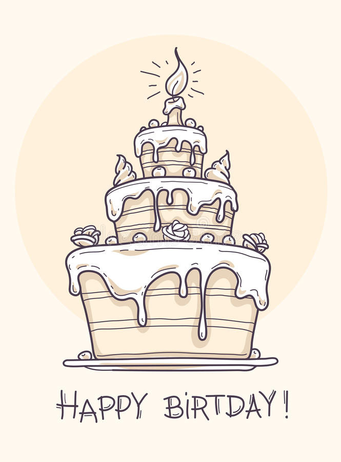 Greeting Card With Big Birthday Cake Stock Vector