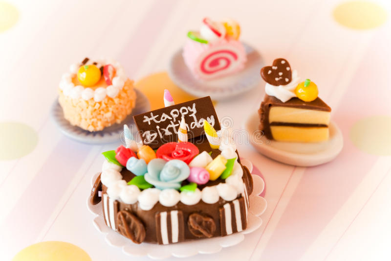 Fancy Birthday Cupcake Orange Candle Stock Images