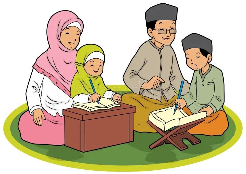 Indonesian Muslim Family Praying Stock Vector ...