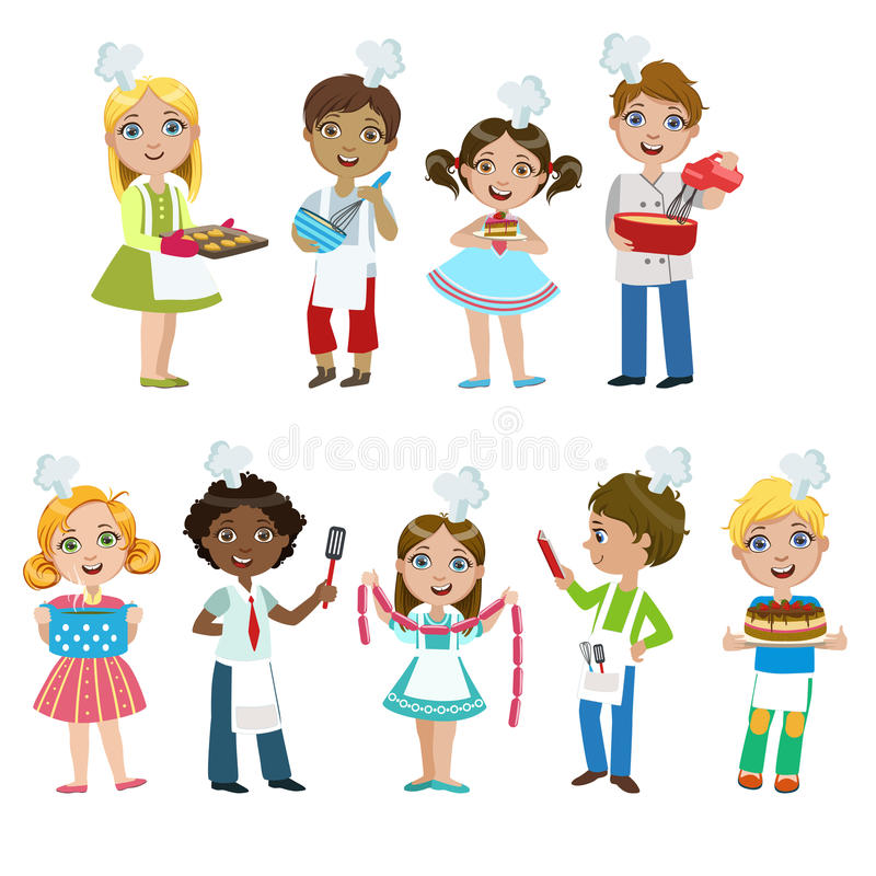 Kids On Cooking Lesson Stock Vector Illustration Of
