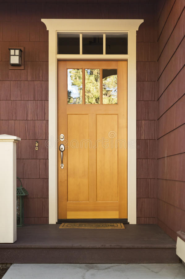 Light Wood Front Door On A Home Stock Image Image Of