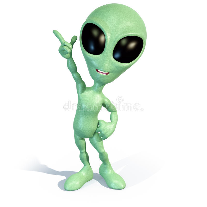 Little Green Alien Has An Idea Stock Illustration