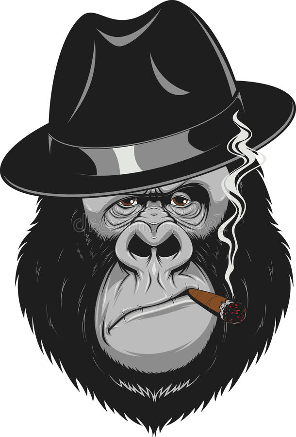 Monkey With A Cigar Stock Vector Illustration Of Black