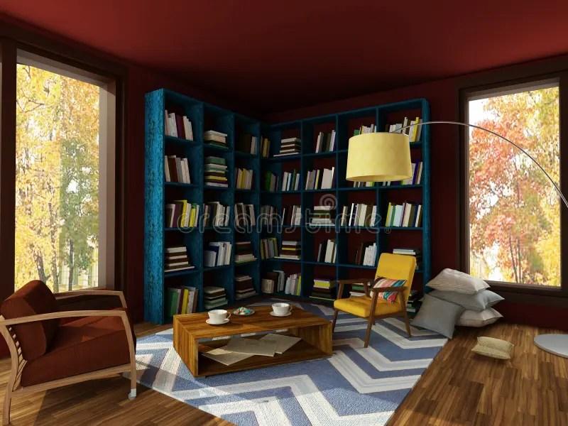 Rendering Of Bright Interior Of Cozy Room In Dark Colors